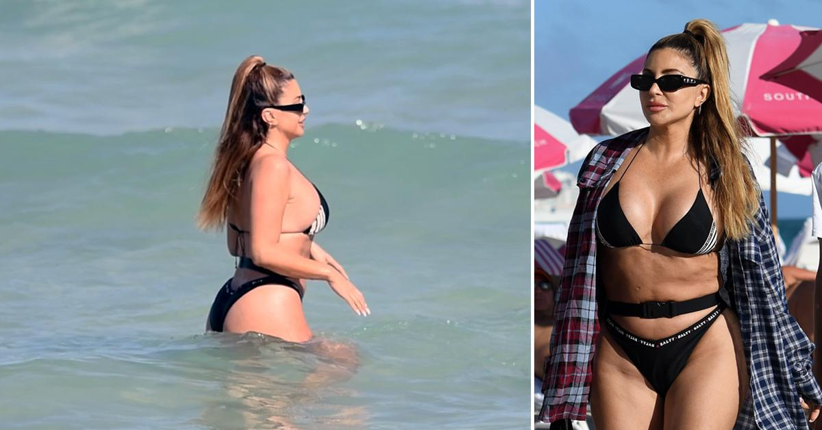 larsa pippen belted bikini ocean miami beach with daughter sophia rf