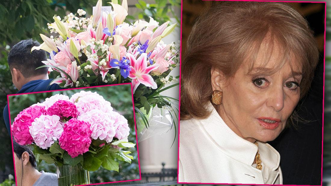 Two Photos Of Flowers Being Delivered To Barbara Walters' Home For Her 90th Birthday, Inset Of Barbara Walters Wearng White Jacket