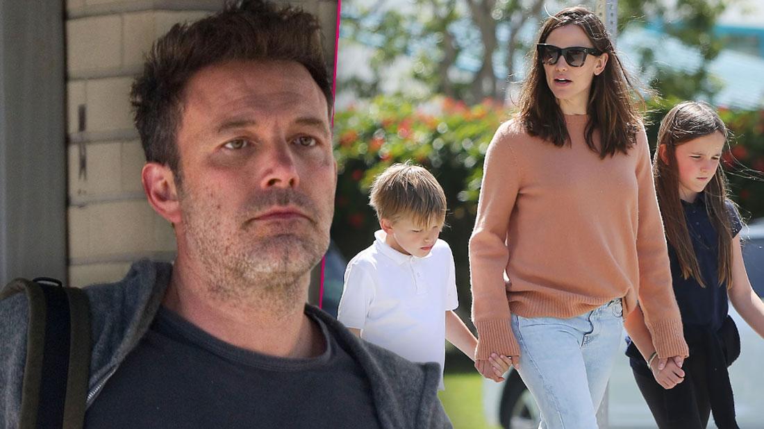 Unshaven Ben Affleck, Inset Jennifer Garner with Serafina and Samuel