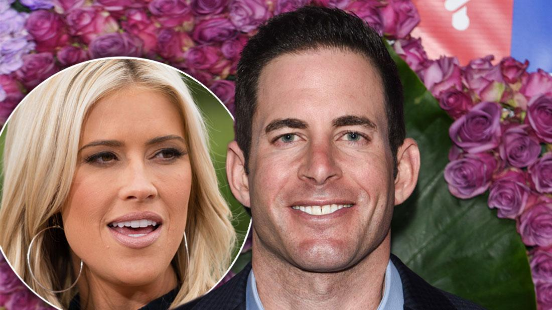 Inset Of Christina Anstead, Tarek El Moussa Smiling Wearing Dark Suit and Light Blue Shirt