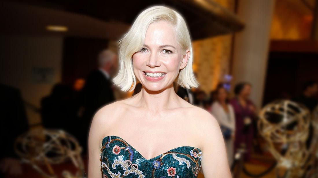 Michelle Williams Wearing Teal Background Beaded Strapless Gown With Asian Print Motif throughout Michelle Williams Is Pregnant & Engaged To Thomas Kail