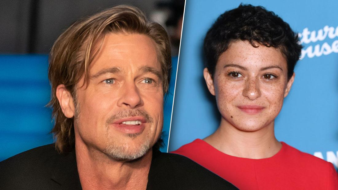 Photo Split of Smiling Brad Pitt Looking Right, Smiling Alia Shawkat Looking Left Wearing Red Dress