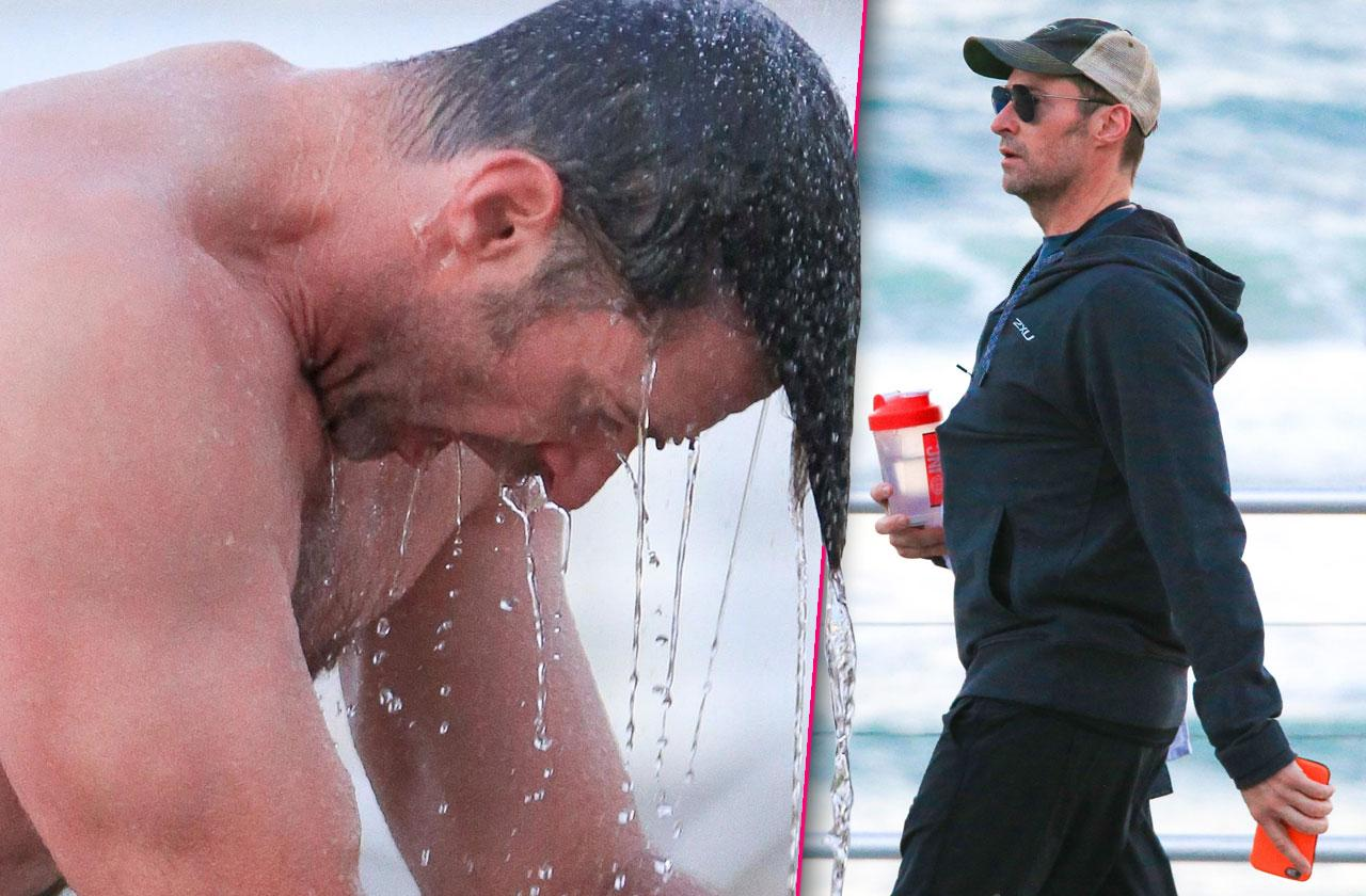 //Hugh jackman shirtless body shower pp