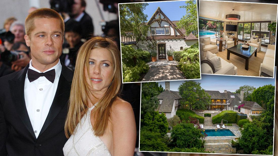 Brad Pitt Jennifer Aniston Home For Sale, Brad Pitt Wearing Black Tuxedo and Jennifer Aniston Wearing White Sleevless evening Gown, 3 Insets of Their Home
