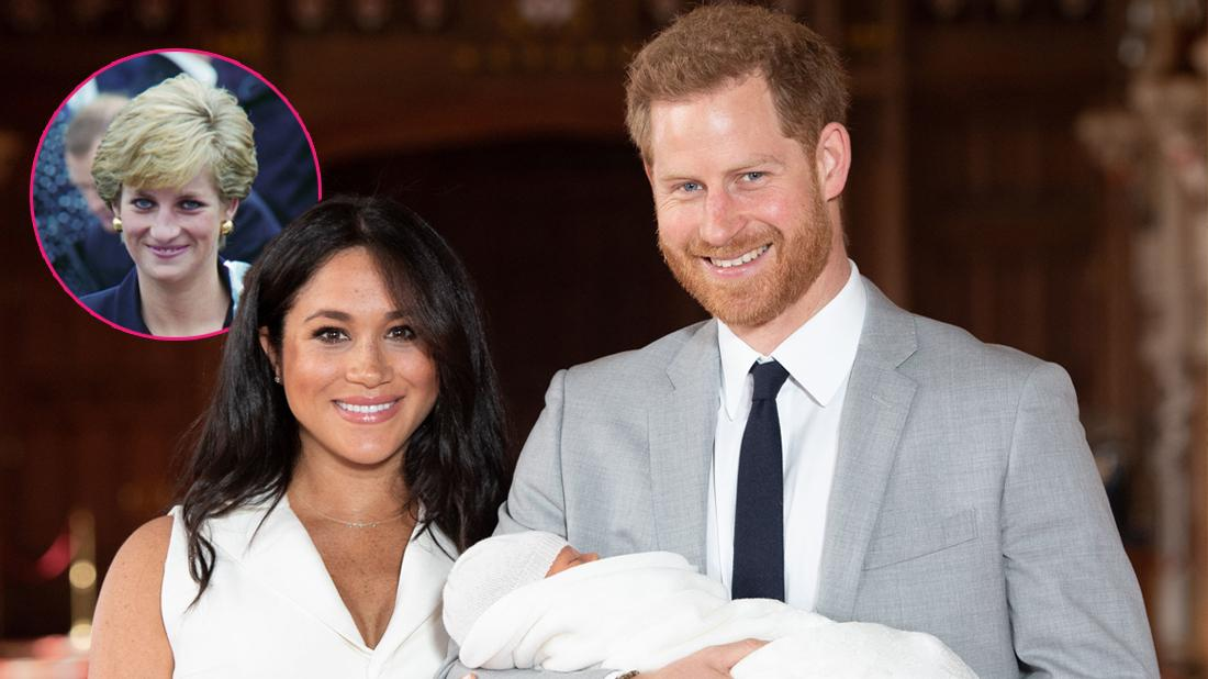 Prince Harry and Meghan Duchess of Sussex pose together with their newborn son Archie Harrison. Inset, Princess Diana during her visit to Plaistow.