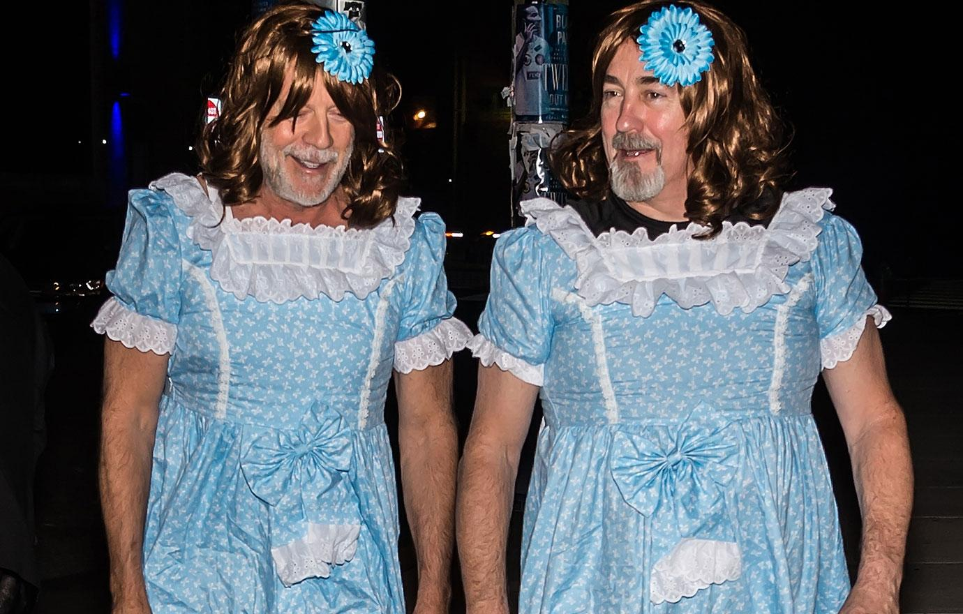 Bruce Willis And Assistant Dress As Creepy Twins Halloween Costume