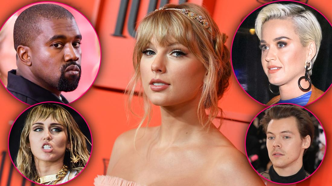 Taylor Swift Closeup With Insets of Kanye West, Katy Perry, Miley Cyrus, Harry Styles
