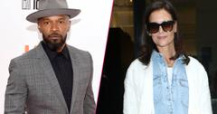 Left Jamie Foxx attends 'Just Mercy' premiere, Arrivals, Toronto International Film Festival, Canada.Right, Katie Holmes, Chanel Iman and Delilah Belle Hamlin arrive at the Elie Tahari Spring 2020 Runway Show at Spring Studio.