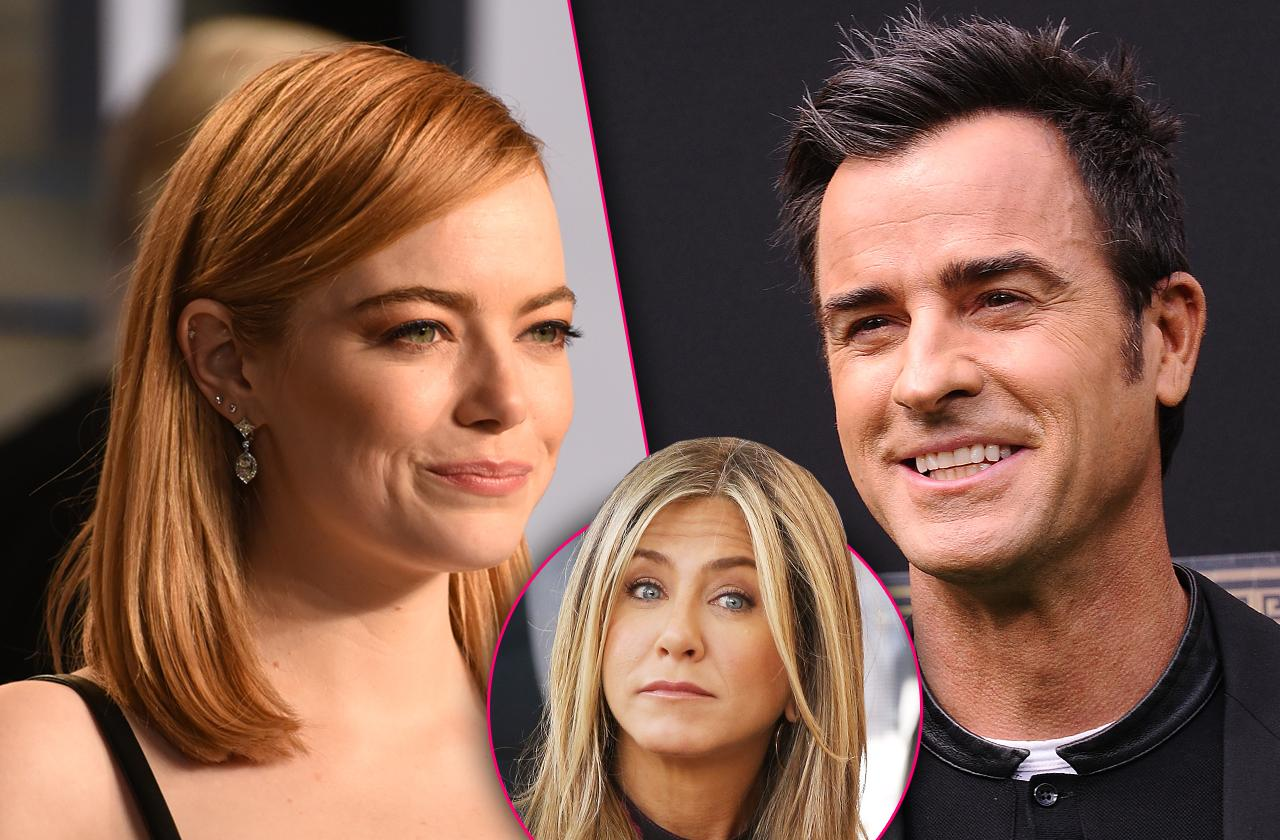 //emma stone flirting justin theroux jennifer aniston fuming