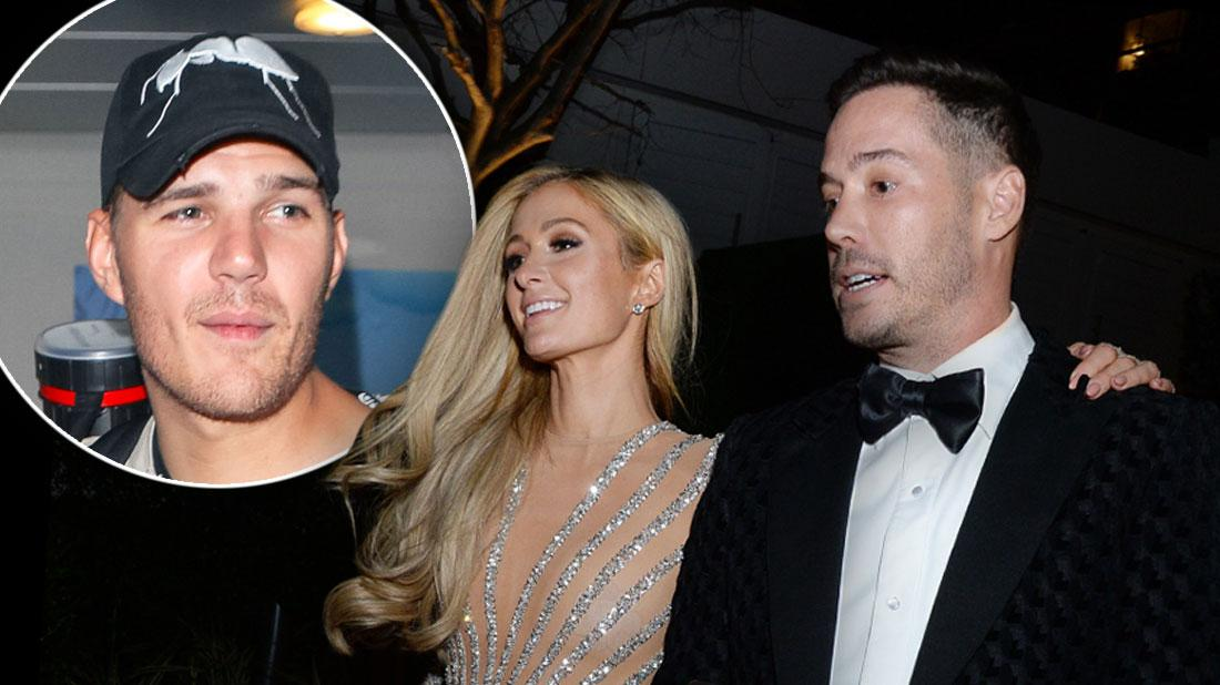 Paris Hilton & her new man, Carter Reum, inset of her ex-fiancé, Chris Zylka