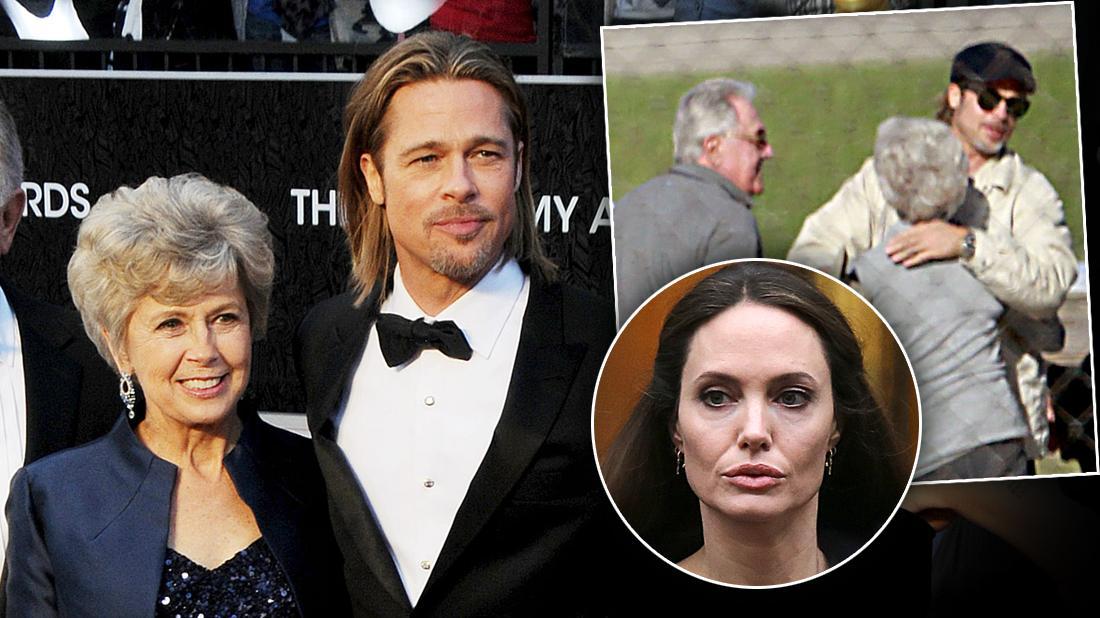 Inset Angelina Jolie, Brad Pitt, Brad Pitt Hugging his mother And Father