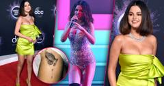 Selena Gomez: Thigh Tattoo & Neon Green Dress At 2019 AMAs