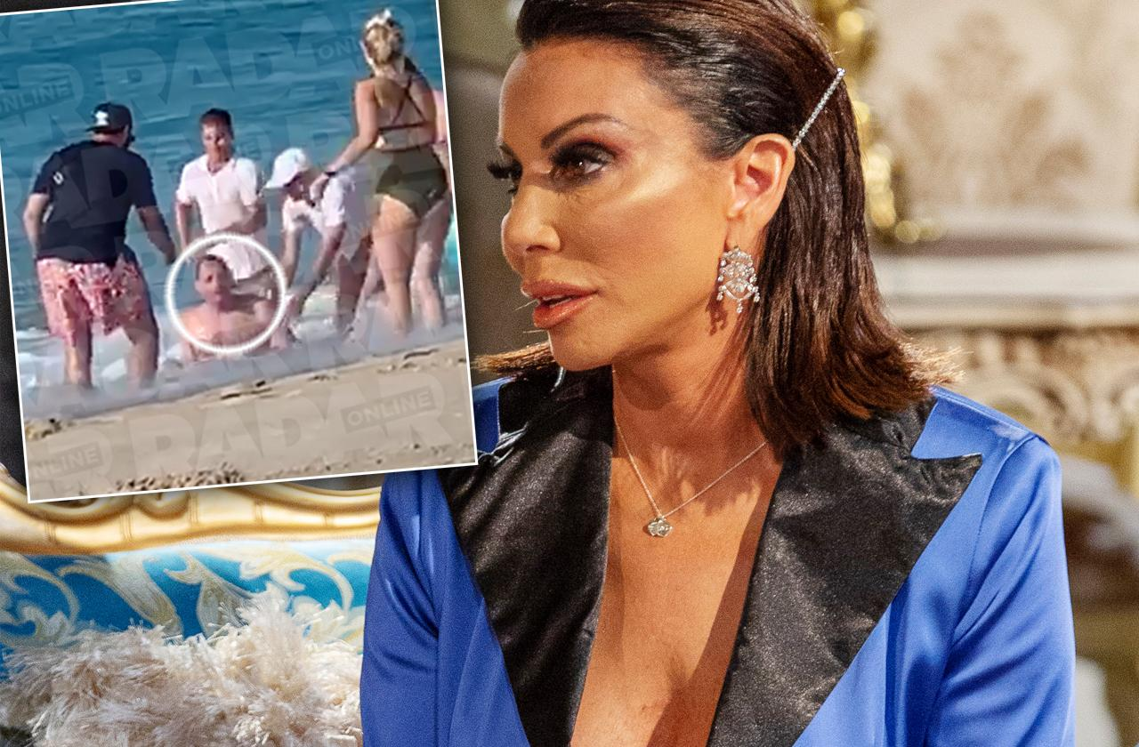 Danielle staub fiance rescued water boozy swim vacation rhonj