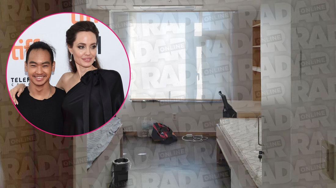 Collect pics show the inside of a two-bed dormitory room at Yonsei University's international campus in Incheon where Hollywood star Angelina Jolie's eldest son Maddox Jolie-Pitt, 18, is about to begin studying biotechnology. Inset, Maddox Jolie-Pitt, Angelina Jolie