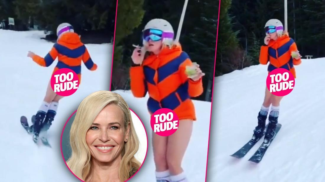 Chelsea Handler Skis Without Pants While Holding Margarita & Marijuana