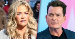 Denise Richards Closeup Looking Upset With Split of Closeup Charlie Sheen Looking Angry