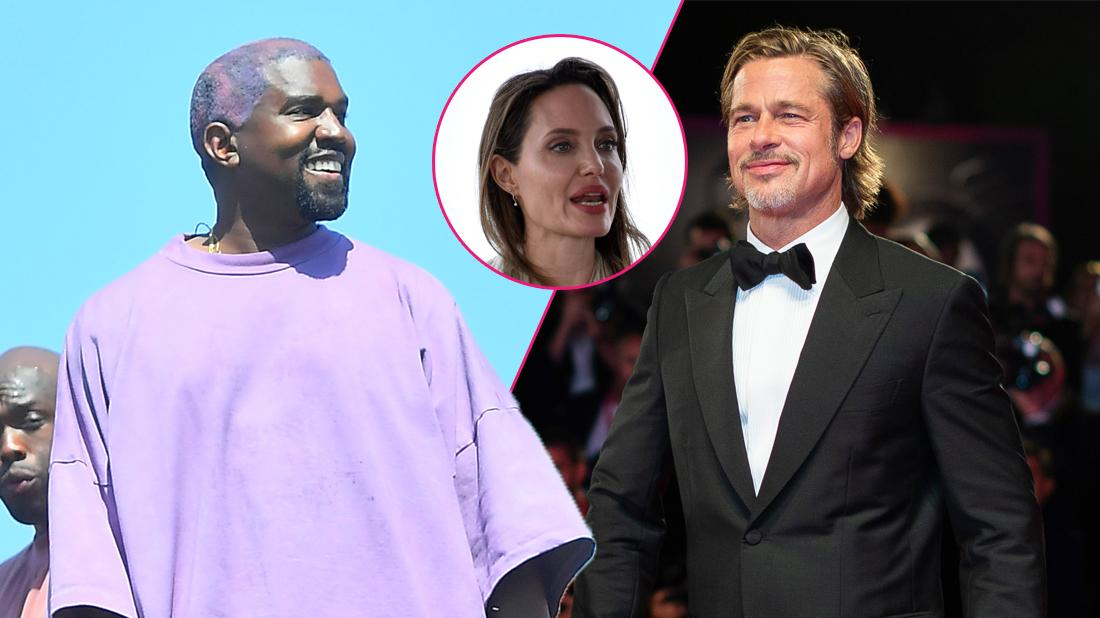 Left, Kanye West preaching for his church. Right, Brad Pitt attending a film premiere. Inset, Angelina Jolie.