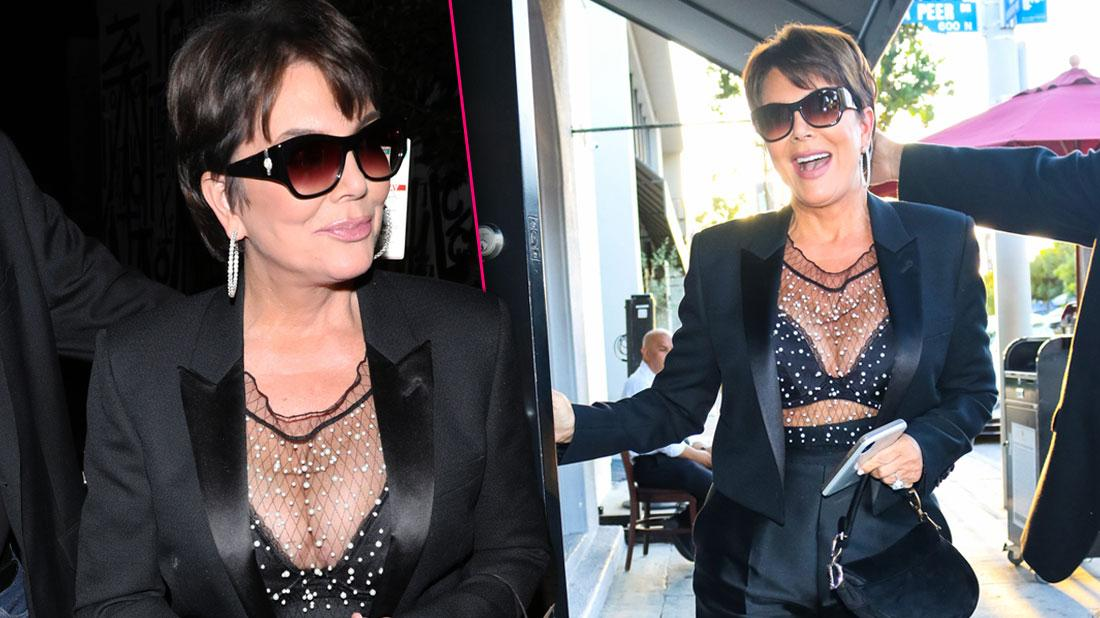 Kris Jenner Shows Cleavage In Sheer Black Outfit At Craig's