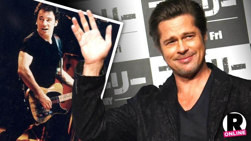//brad pitt excited play his idol bruce springsteen pp sl
