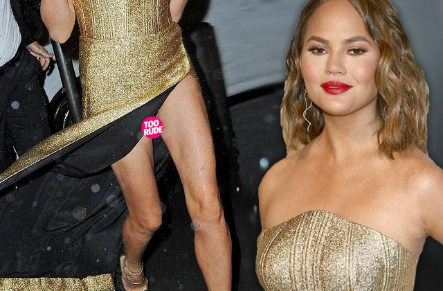 Chrissy Teigen Wardrobe Malfunction Gold Dress