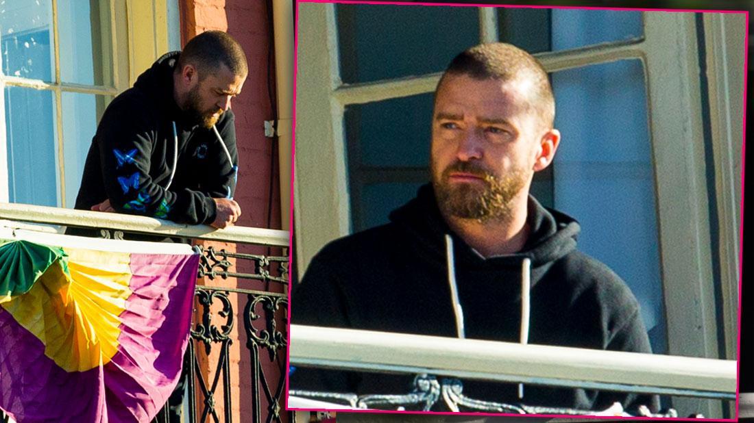 Justin Timberlake Wearing Sweats on a New Orleans Balcony