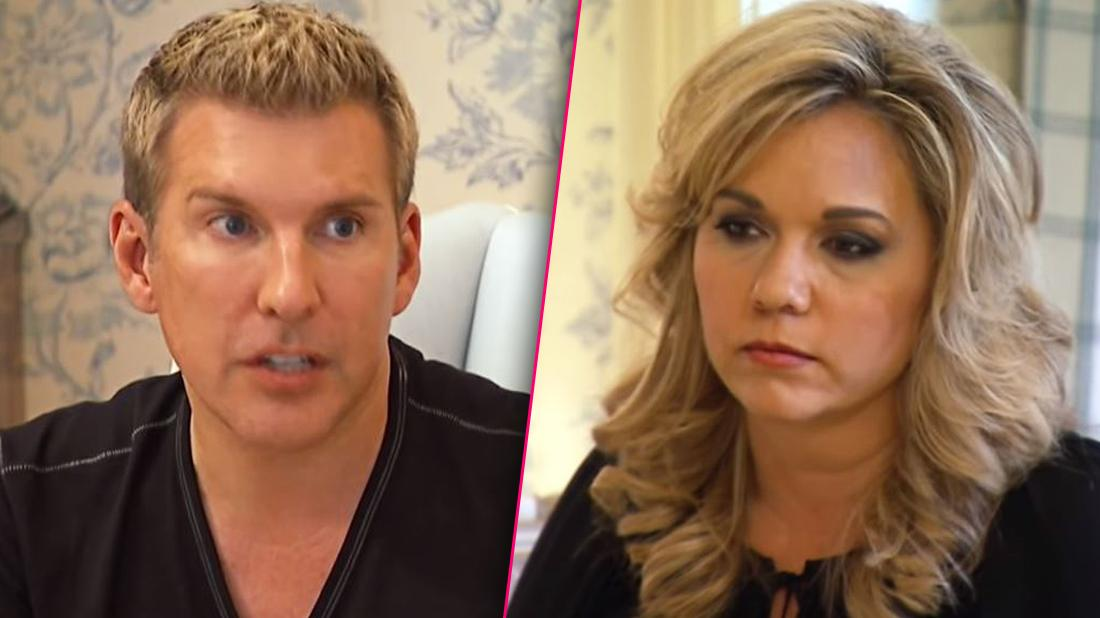 Todd Chrisley Closeup Looking Upset Split Julie Chrisley Looking Sad