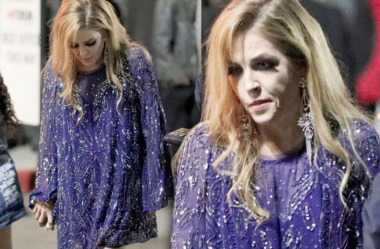 Lisa Marie Presley Guns N Roses Purple Dress