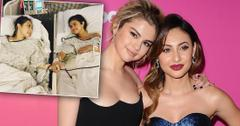 Selena Gomez and Francia Raisa Posing Smiling on Red Carpet With Inset of Them Holding Hands While In Hospital Beds After Surgery Wearing Hospital Gowns