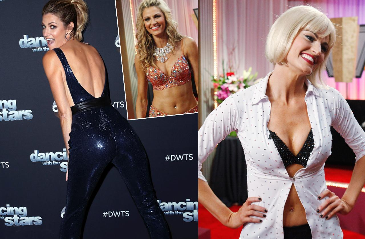 Erin Andrews showing off butt and cleavage in leather pants and bra after nude video peephole scandal