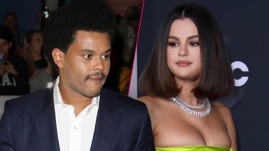 Photo Split, Abel Tesfaye AKA The Weekend Looking right, Selena Gomez Wearing Lime Green Dress Looking Left