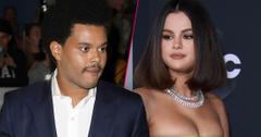 Photo Split, Abel Tesfaye AKA The Weekend Looking right, Selena Gomez Wearing Lime Green Dress Looking Left