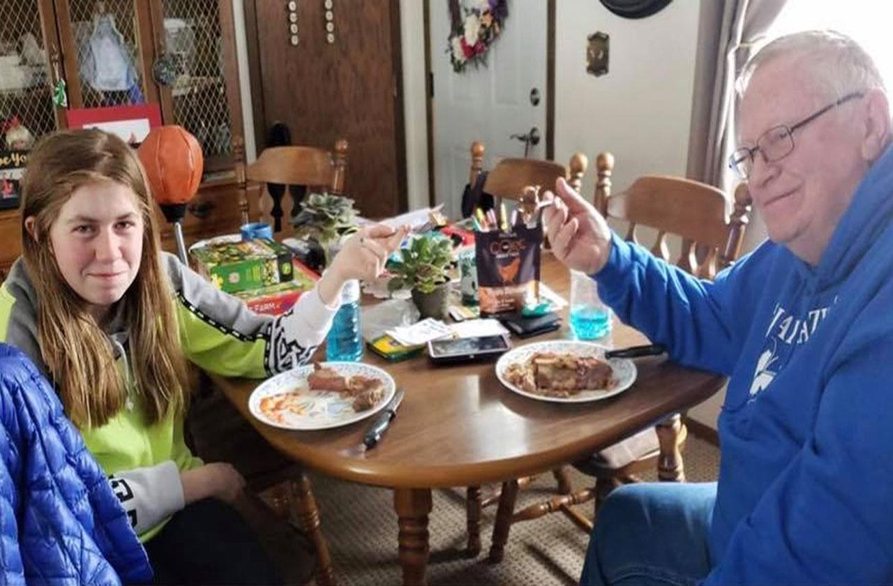 kidnapping survivor jayme closs eating steak meal grandpa