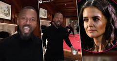 2 Images Jamie Foxx Partying At His Mansion, Inset Katie Holmes Looking Annoyed