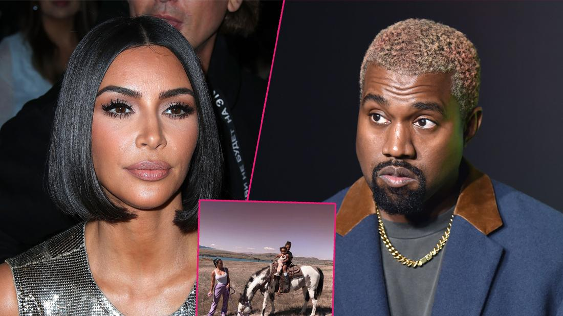 Right, Kanye West at an event. Left, Kim Kardashian at an event. Inset, Kim Kardashian with her family in a field.