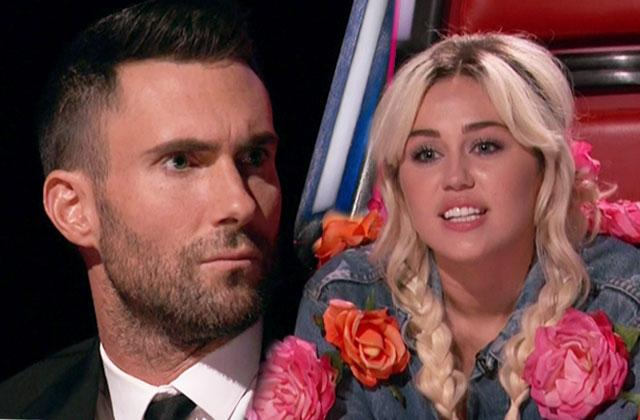 Miley Cyrus Adam Levine Voice Feud