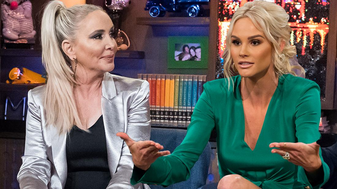 Shannon Beador wears a reflective silver jacket. Meghan King Edmonds wears a green dress.