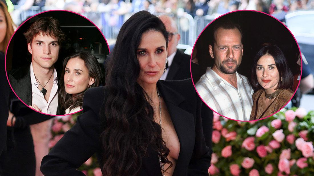 Main, Demi Moore. Inset, Demi Moore with Bruce Willis and Ashton Kutcher.