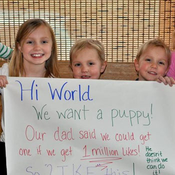 //kids facebook likes puppy