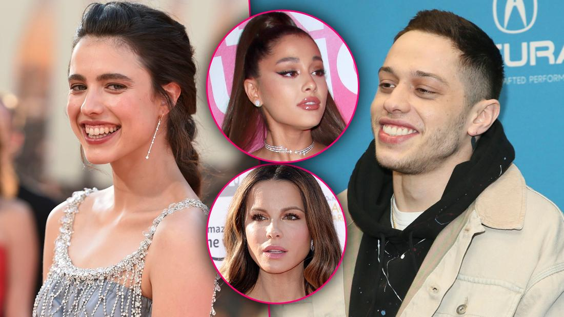 Pete Davidson Smiling with Split of Margaret Qualley Also Smiling with Insets of Upset Ariana Grande and Kate Beckinsale
