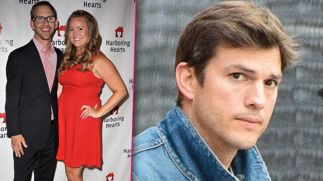 Ashton Kutcher Looking Concerned with Inset of Brother Michael with Wife Katie Hightower