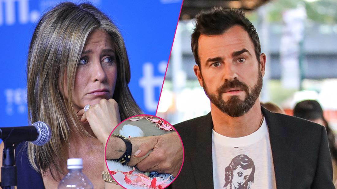 """Left,Actress Jennifer Aniston speaks onstage at """"Cake"""" Press Conference during the 2014 Toronto International Film Festival at TIFF Bell Lightbox on September 9, 2014 in Toronto, Canada; Right, Justin Theroux is seen in Meatpacking District on August 14, 2018 in New York, New York. Center, Justin theroux and Jennifer Aniston hold hands with their puppy."""