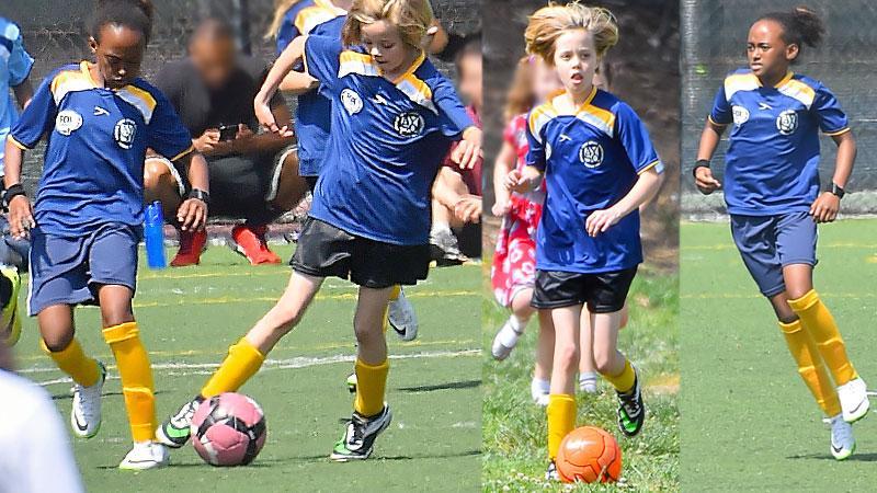 Zahara & Shiloh Jolie-Pitt Playing Soccer