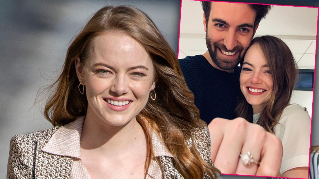 Smilinf Emma Stone, Inset Dave McCary With Emma Showing Engagement Ring.Emma Stone Engaged To 'SNL' Writer Boyfriend Dave McCary