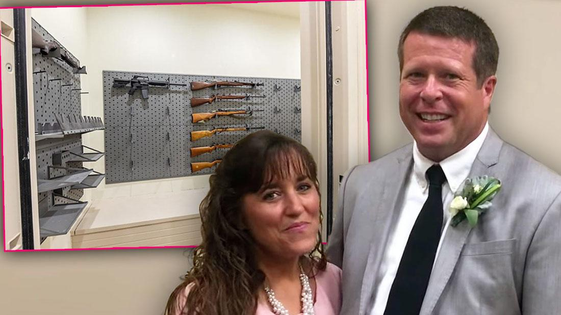 Gun Room and Michelle in Pink Dress and Jim Bob Duggar in White Shirt, Black Tie and Gray Jacket