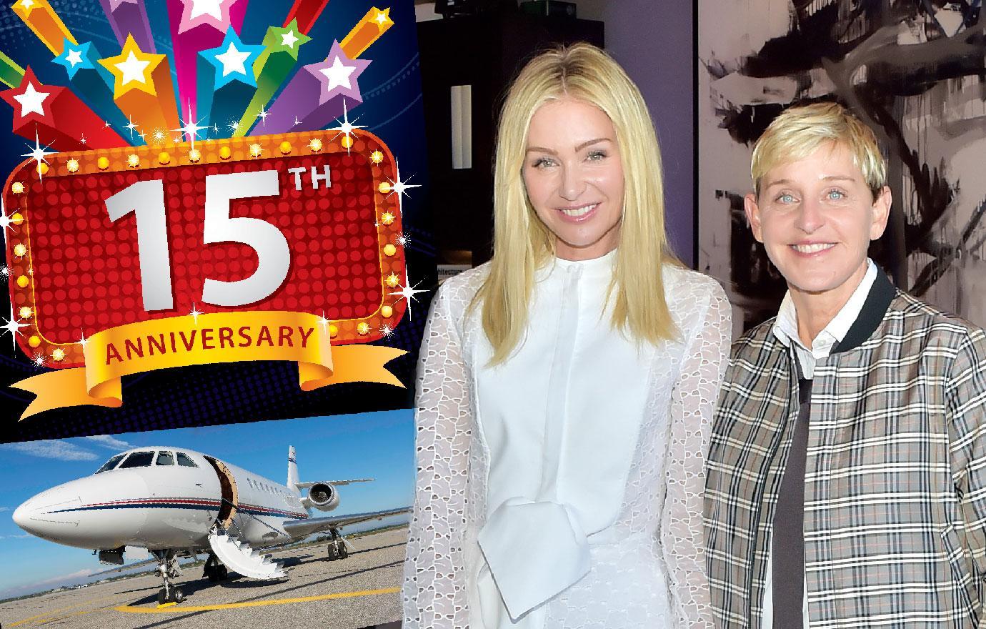 Ellen DeGeneres Hires Plane To Celebrate 15 Years With Portia