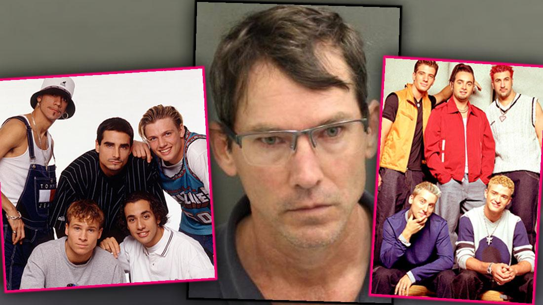Inset of Group Shot of Boy Band Backstreet Boys with Mugshot of Charles Edwards and another Inset Group Shot of Boy Band N'Sync