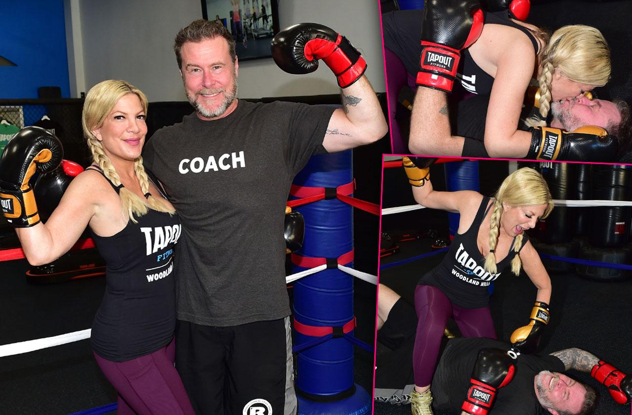 Tori Spelling Supports Dean McDermott Boxing Event