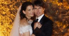 Katie Holmes, wearing a Giorgio Armani dress, posed with her then-husband Tom Cruise (wearing a Tom Ford tux) at their wedding in Italy.