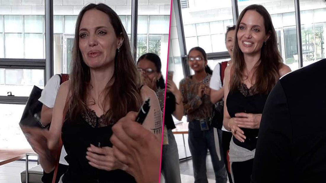 Angelina Jolie Inside School in South Korea Speaking Surrounded by Fans