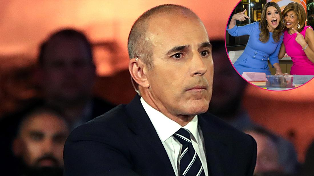 Matt Lauer wears a black suit with a black and white stripped tie. Inset, Hoda and Gurthie happy. Hoda is wearing a magenta dress while Savannah Guthrie wears a blue dress.